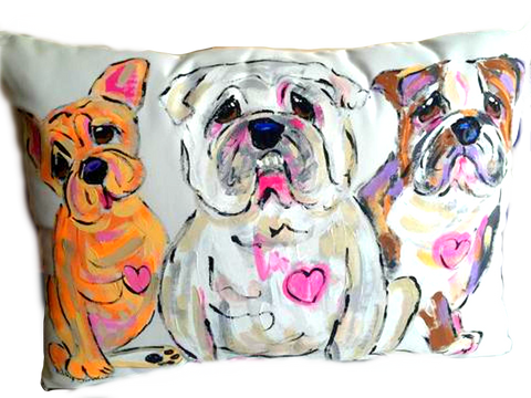 Bulldog Pillow Hand Painted and customizable pet portraits by Debby Carman