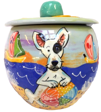 Bull Terrier Gift Hand Painted Treat Jar by Debby Carman Faux Paw Petique Productions Laguna Beach California with beach design custom  cookie jars