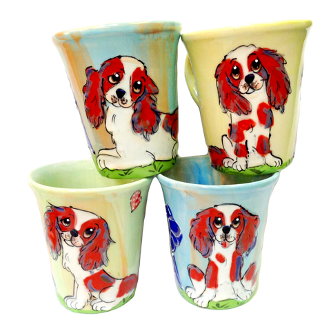 cavalier King Charles mug set / dog show breed trophy / Debby Carman / faux paw productions
