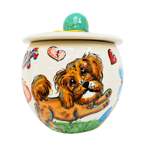 CAVAPOO DOG ON CERAMIC TREAT JAR FROM Debby Carman GIFT COLLECTION