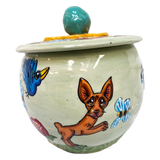 custom personalized cookie jar for dog treats by Debby Carman featuring chihuahua in garden design