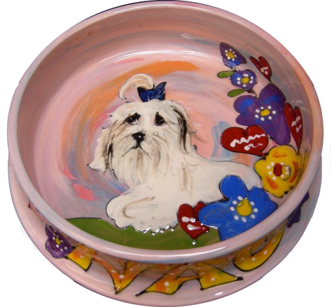 COTON DE TULEAR CUSTOM FOOD DISH