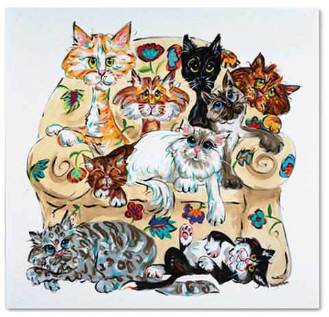 multi color cat painting on canvas gallery, rainbow pet art, by Debby Carman, faux paw petique, faux paw productions, cat art