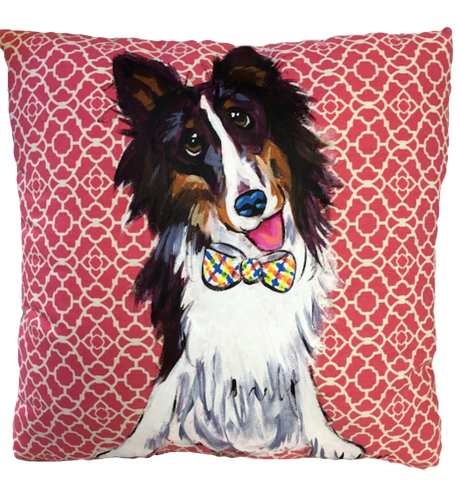 Hand painted dog portrait of collie on patterned handmade high quality decorative pillow by Debby Carman
