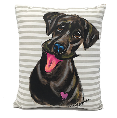 Black Labrador painted with acrylic on stylish grey and white striped decorative throw pillow by faux paw artist debby carman