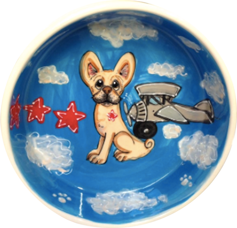 French Bulldog with airplane featured on Ceramic Dog Bowl Great Gift for frenchie lover hand painted by Debby Carman