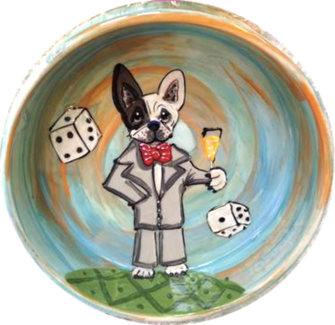Las Vegas Show Dog French Bulldog in suit and bow tie making a champagne toast with dice rolling hand painted by Debby Carman custom themed dog paintings fun colorful dog bowls with pet portrait from photo