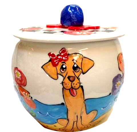 Labrador girl with bow hand painted on treat jar custom handmade by Debby Carman