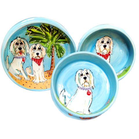 Dog Bowl Set for food and water hand painted whimsical pet portraits by Debby Carman custom personalized dog bowls with name