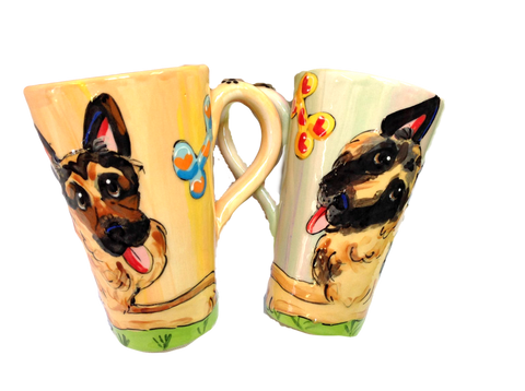 German Shepherd Latte Mug Set hand painted by Debby Carman / faux paw petique
