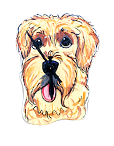 Golden Doodle Wall Clock Hand Painted by Debby Carman