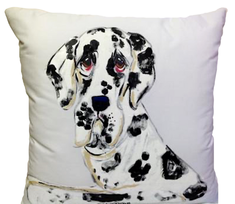 Hand Painted Portrait of Great Dane on decorative pillow customizable at Faux Paw Productions Petique Artique by Debby Carman