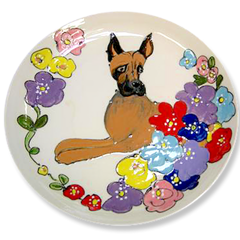 Great Dane Trophy Presentation Plate Hand painted breed show dog ceramic trophy best of breed