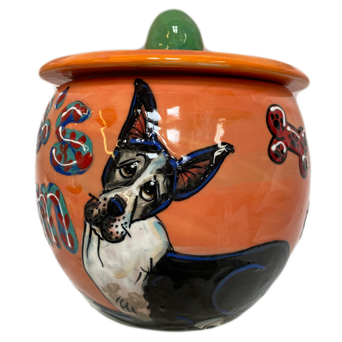 custom personalized cookie jar for dog treats by Debby Carman featuring Great Dane hand painted