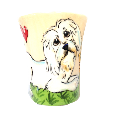 Cream Color Coffee Mug, Havanese Mug, Custom Dog Mug from Photo, Dog Mug,  Hand Painted, whimsical pet art by Debby Carman,  Faux Paw Petique, Laguna Beach
