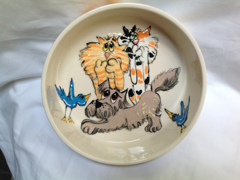 Schnauzer and Cat Bowl