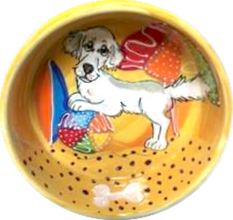 White LabraDoodle Food and Water Bowl hand painted by Debby Carman