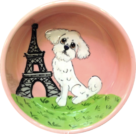 photo of Maltese dog in Paris on ceramic dog bowl by Debby Carman, faux paw petique