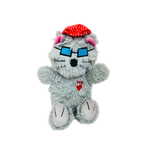 BOWZERS & MEOWZERS KITTYWIMPUSS A GREY CAT LARGE PLUSH SQUEAKY DOG TOY BY MULTIPET AVAILABLE AT FAUX PAW PRODUCTIONS BY Debby Carman