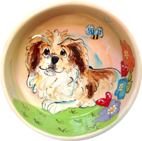 Pekingese food bowl hand painted by Debby Carman of Faux Paw Petique Artique Laguna Beach