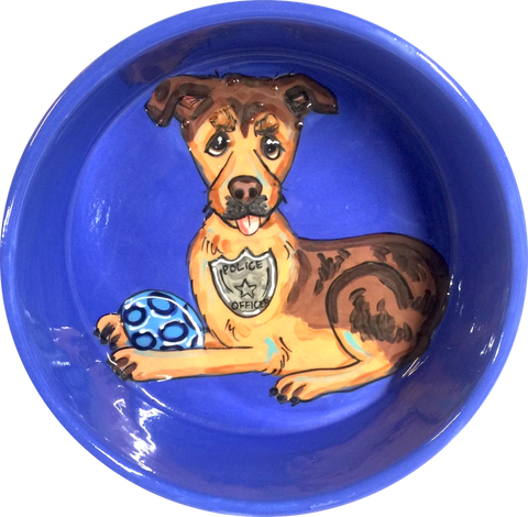 Police Dog Gift for Retirement of K-9 Police Dog, Ceramic Bowl, hand painted by Debby Carman