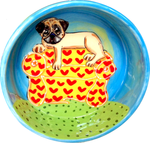 CUSTOM DOG BOWL PERSONALIZED PUG PORTRAIT, COUCH PUG