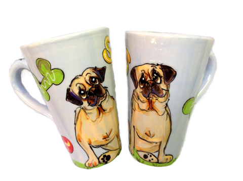 Set of Ceramic Dog Mugs Hand Painted with Pug , personalized with name. Pet portrait by Debby Carman, faux paw productions, faux paw petiique