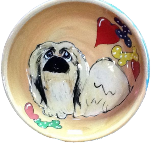Pekingese Gift / Hand Painted / Ceramic Dog Bowl / Pet Portrait from photo /  Debby Carman