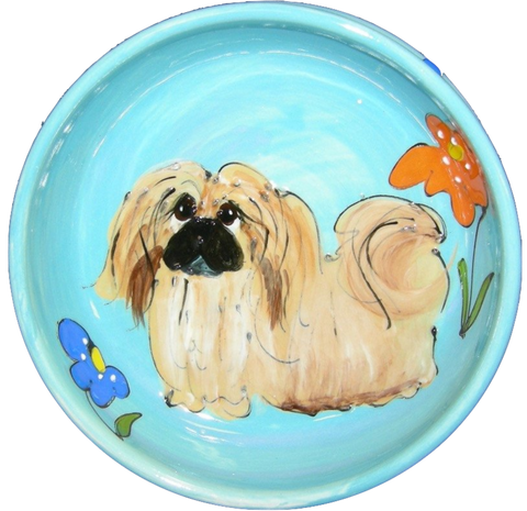 Custom Bowl for Pekinese / Dog Lover Gift Ideas / Aqua Blue / Flower Design / Hand Painted / Debby Carman