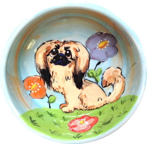 Pekingese Small Dog Bowl / Ceramic / Garden theme with flower design / Hand Painted / Personalize this pet bowl / Debby Carman