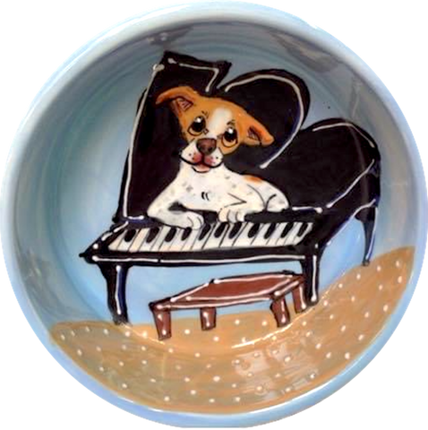 photo of Jack Russell Terrier mix dog sitting on grand piano hand painted by Debby Carman, faux paw petique
