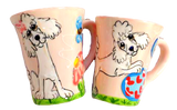 White poodle on ceramic mug hand painted by Debby Carman