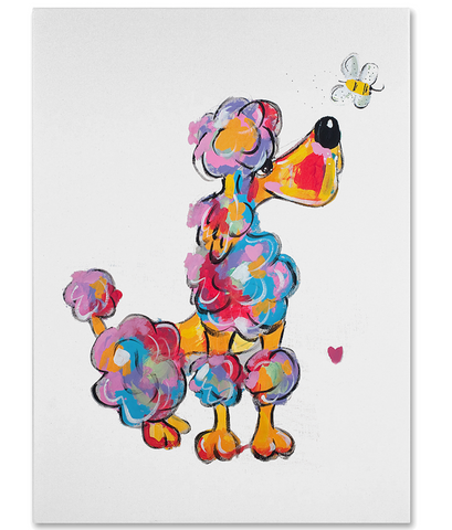 Rainbow Poodle Painting, Adorable Poodle Wall Art Wall Decor, Giclee on Canvas, Debby Carman, Faux Paw Petique