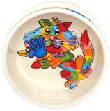 Rainbow Palz Cat Bowl on White ceramic pet bowl with name