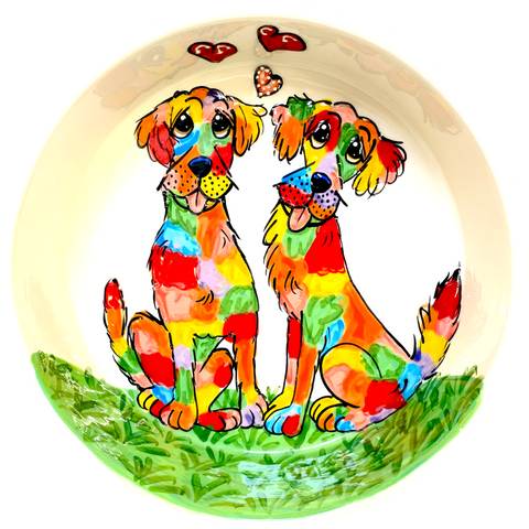Photo of Rainbow Palz Labrador Friends on Ceramic Dog Bowl by Debby Carman, faux paw