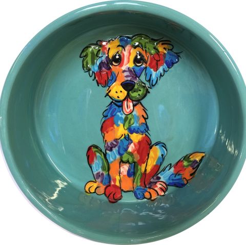 Rainbow Palz™ Labrador retriever dog water dish Pet Food Bowls Personalized Gifts Colorful Whimsical Dog Art pottery Labradoodle on teal ceramic dog dish by Debby Carman Faux Paw Productions Artique Petique Boutique pet accessories personalized
