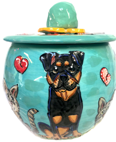 Rottweiler Gift / food storage / aqua blue / treat jar / cookie jar / custom / personalized / Debby Carman