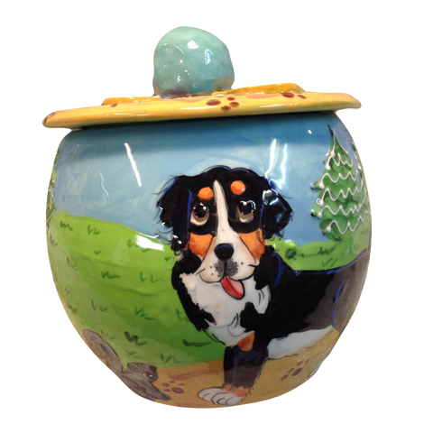 image of Bernese mountain dog on round ceramic treat jar hand painted by faux paw artist Debby Carman custom dog portrayals handmade