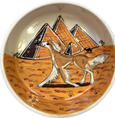Salukis hand painted on ceramic dog bowl for dog breed show trophy and great gifts for pet owners by Debby Carman faux paw productions Artique petique boutique heavy ceramic dog bowl no tip dog bowl large dog bowl dog Walter bowl pet portrait dog bowl with name