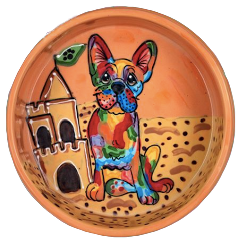 French Bulldog on the beach with sandcastle on ceramic orange bowl by Debby Carman