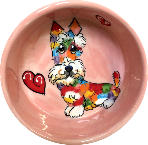 Rainbow Schnauzer | Ceramic Dog Bowl