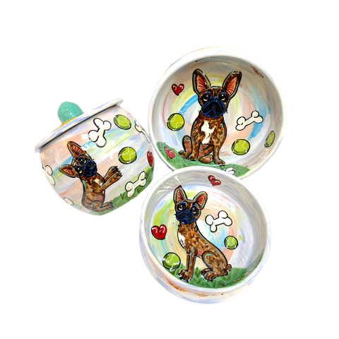 FRENCH BULLDOG GIFT SET WITH TREAT JAR AND CERAMIC BOWLS PERSONALIZED FOR FREE