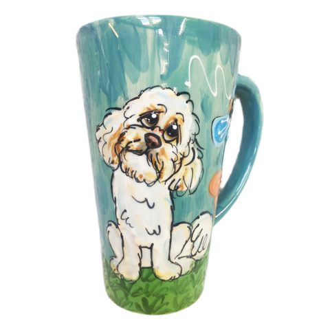 Shih Tzu hand painted on tall latte mug | color: blue | Debby Carman | Faux Paw Productions