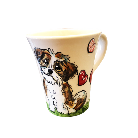 Shih Tzu puppy on ceramic dog mug with hearts hand painted by Debby Carman