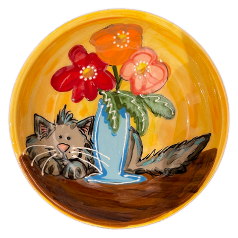 Still Cat with Life | Ceramic Cat Food Bowl