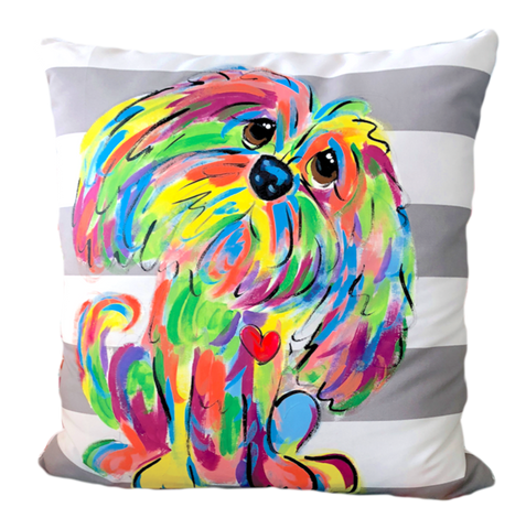 Photo of Handmade and hand painted custom pet pillow featuring your pet from photo in Rainbow Palz© Style by Debby Carman