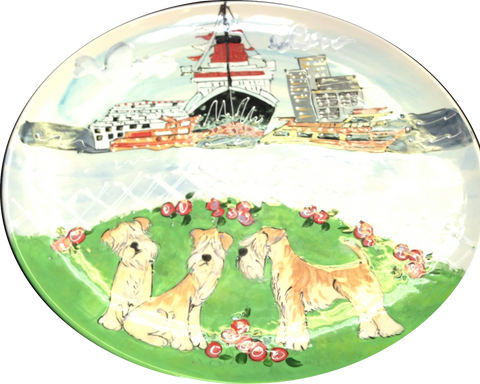 Wheaten Terrier Oval Platter | Dog Show Trophy
