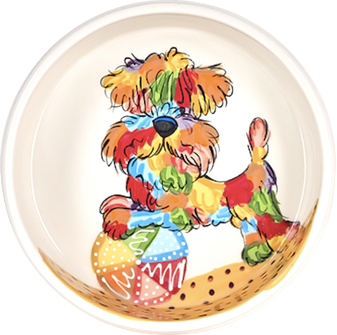 Rainbow Palz© Ceramic Dog Bowl Hand Painted Wheaten Terrier Custom Portrait for Dog Breed Show Trophy Westminster Kennel Club
