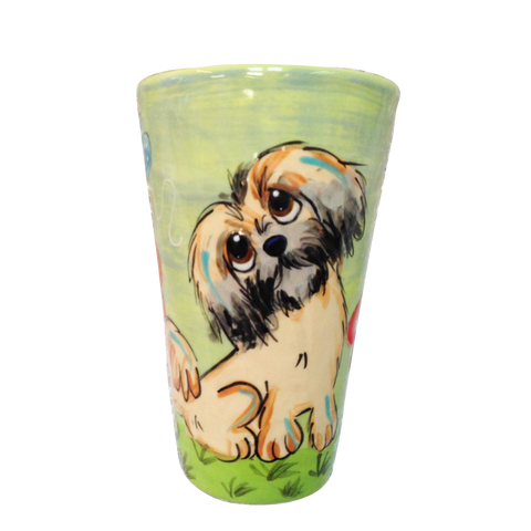 image of brussels griffon dog breed featured on green ceramic tall latte ceramic mug hand painted by Debby Carman