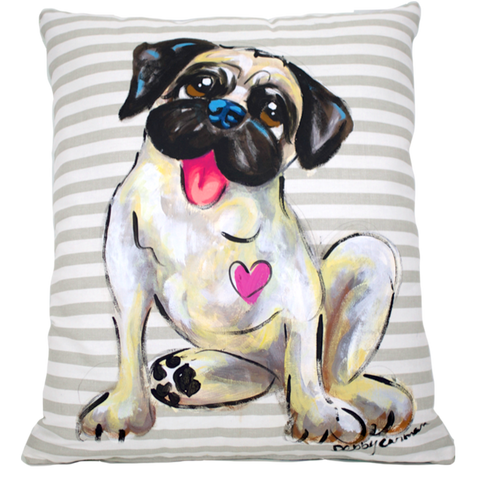 Custom Pug Portrait  featured on patterned handmade canvas pillow hand painted by Debby Carman Dog Pillows Decor for the Home